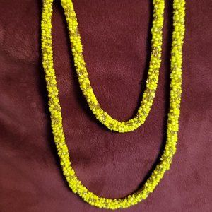 Vintage Long Mustard Yellow Seed Bead Necklace